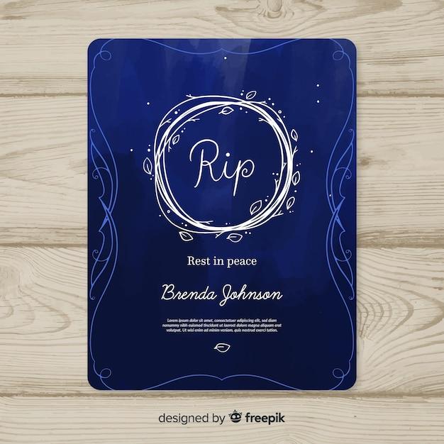 葬儀カードのテンプレート ベクター画像 無料ダウンロード