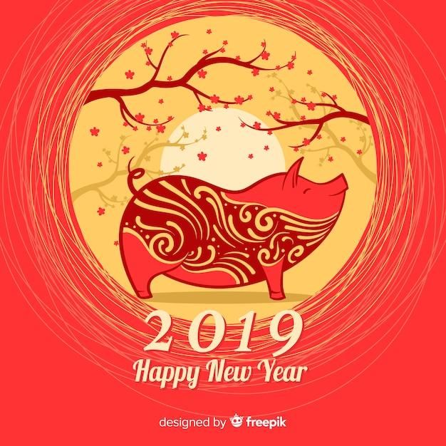 Деревья китайский фон нового года Бесплатные векторы