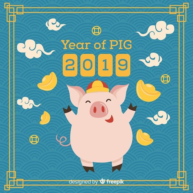 Китайский Новый год 2019 фон Бесплатные векторы