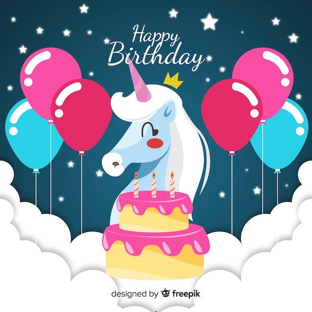 Плоский день рождения животных фон Бесплатные векторы