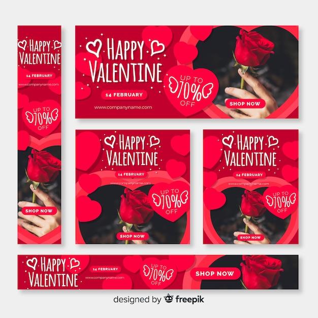 День святого Валентина веб-баннеры Бесплатные векторы