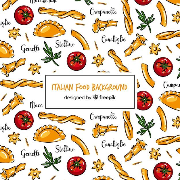 手描きイタリア料理の背景 無料ベクター