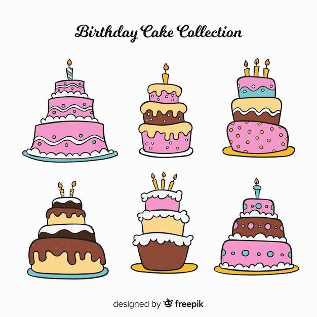 Коллекция рисованной торт ко дню рождения Бесплатные векторы