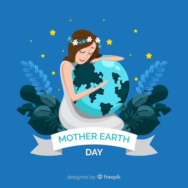 平らな母なる地球の日の背景 無料ベクター
