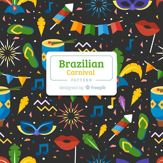 フラットブラジルカーニバルパターン 無料ベクター