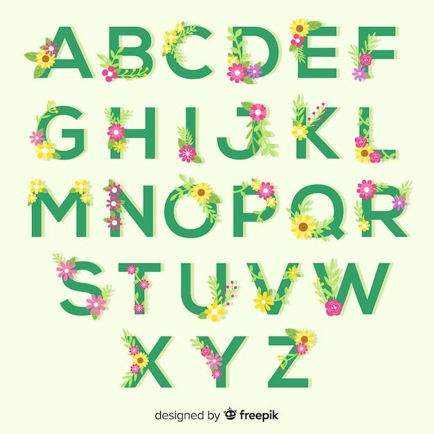 Плоский цветочный алфавит Бесплатные векторы