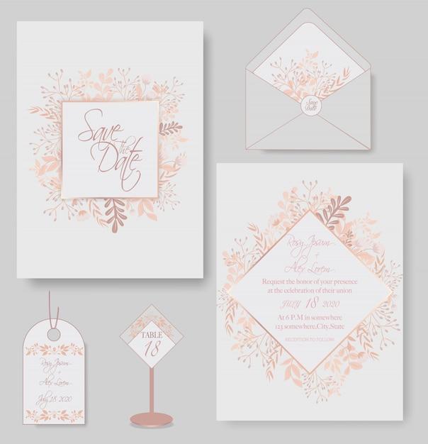 Элегантные свадебные карточки состоят из различных видов цветов. Premium векторы