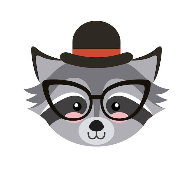 かわいい動物、帽子と眼鏡hipsterスタイル Premiumベクター