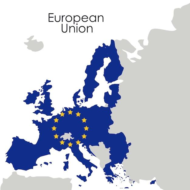 ヨーロッパ連合の地図アイコン。...