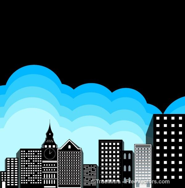 здания � �иними облаками Век�о� Ска�а��