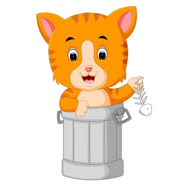 ゴミ箱に猫 Premiumベクター