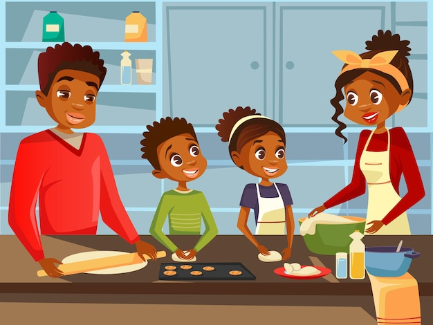 Афро американская черная семья вместе готовить еду на кухне Бесплатные векторы