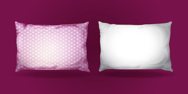 ピローモックアップセット。現実的な寝具のファブリック要素。 無料ベクター