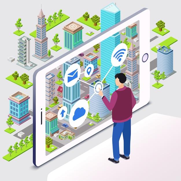 スマートシティ。居住用のスマートシティインフラストラクチャーを備えたマンユーザーとスマートフォン 無料ベクター