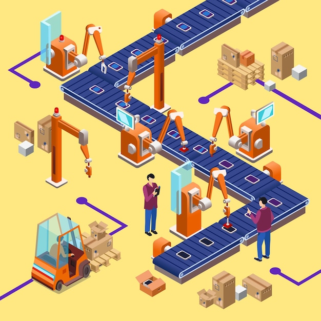 アイソメトリック自動組立工場ロボットライン概念 無料ベクター