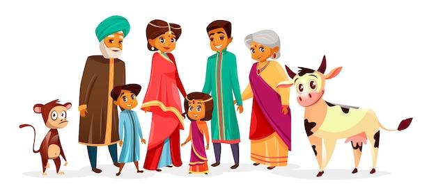 ヒンドゥー教の民族服を着たインド人の家族。漫画のインディアンキャラクター 無料ベクター