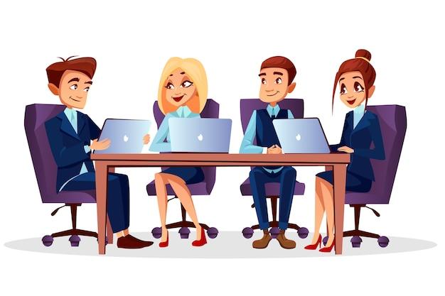 ブレーンストーミングで通信するラップトップと机に座っている漫画ビジネスの人々 無料ベクター