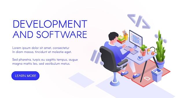 ソフトウェア開発コンピュータでのWeb開発者またはプログラマのイラストレーション。 無料ベクター