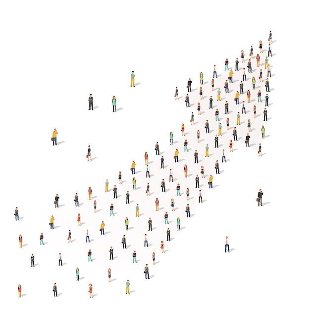 Люди, стоящие вместе в форме стрелы Бесплатные векторы
