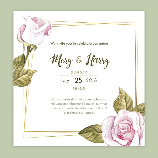 エレガントな結婚式の招待状 無料ベクター