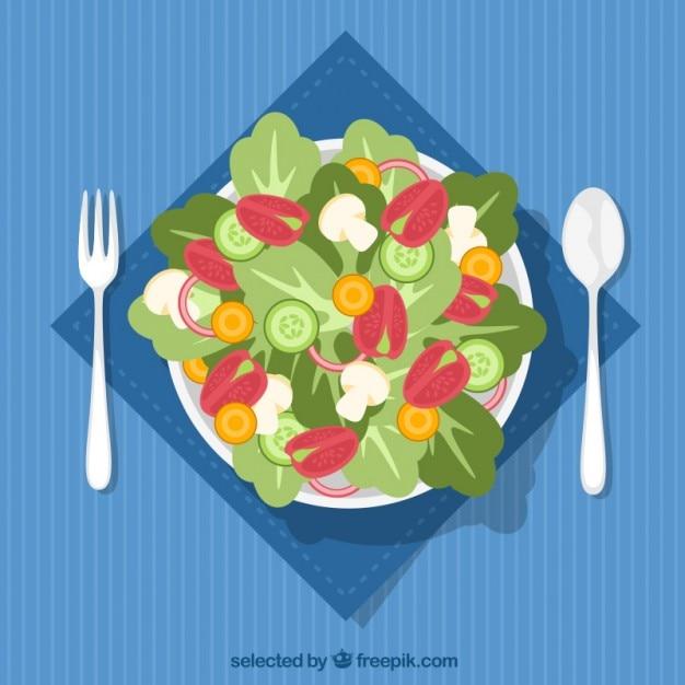 サラダの皿のトップビュー 無料ベクター