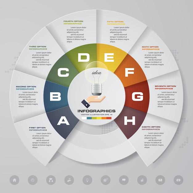 現代のチャートのinfographics要素の8つのステップ。 Premiumベクター