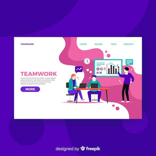 カラフルなチームワークのランディングページ 無料ベクター