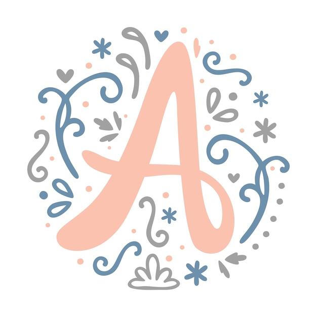 a letterモノグラムデザイン 女性のアルファベット かわいい 花