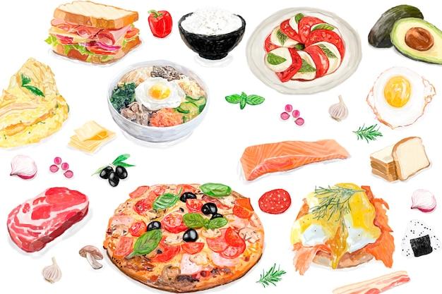 手描きの国際的な食べ物の水彩スタイル 無料ベクター