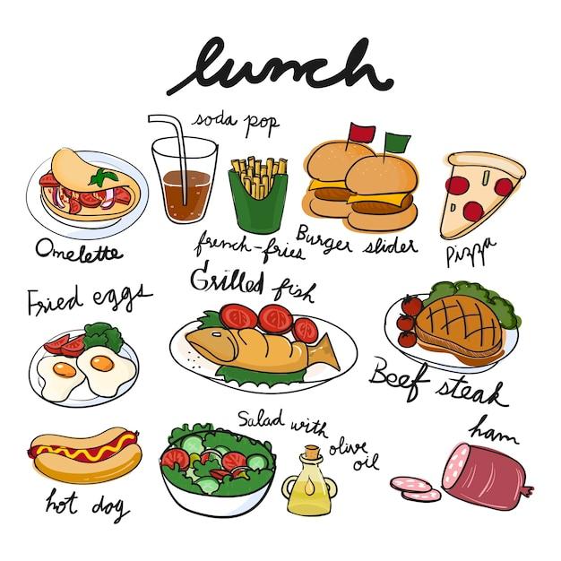 食品コレクションのイラストの描画スタイル 無料ベクター