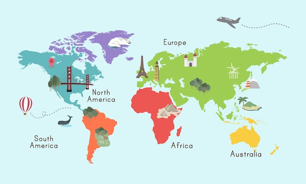 Карта мира на континенте Графическая иллюстрация Бесплатные векторы