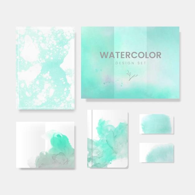 ターコイズブルーの水彩風パンフレットベクトル 無料ベクター