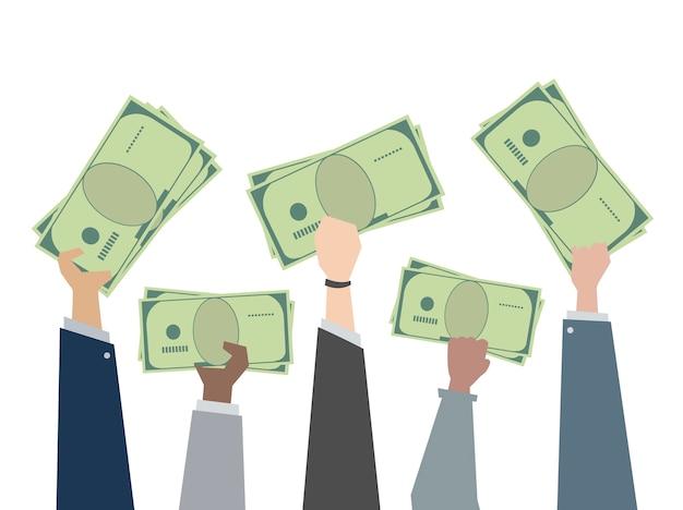 Иллюстрация рук, держащих бумажные деньги Бесплатные векторы