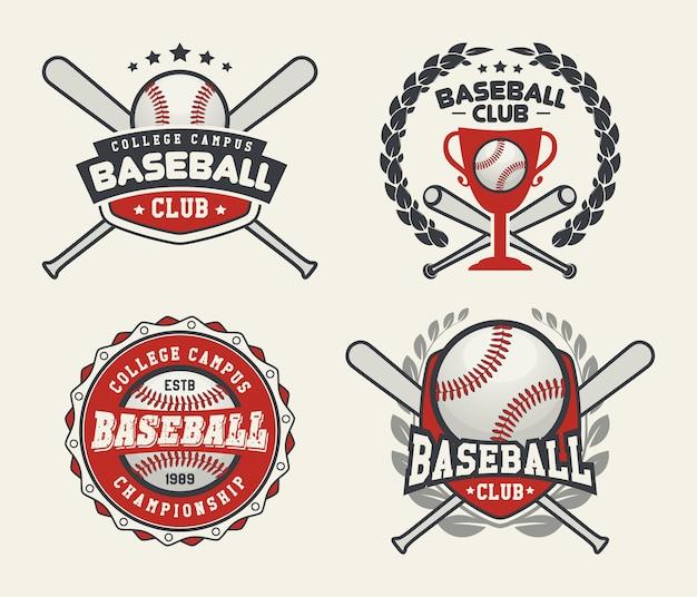 野球のバッジとラベル、スポーツロゴデザイン Premiumベクター