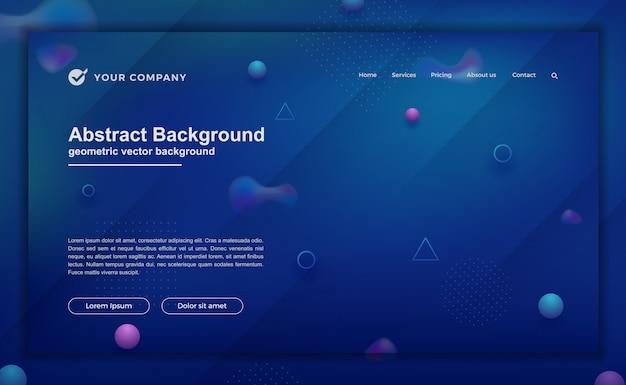 ランディングページデザインのトレンディな抽象的な背景。ウェブサイトのデザインのための最小限の背景。 Premiumベクター