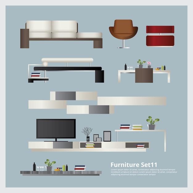 家具とホームデコレーションセットベクトル図 Premiumベクター