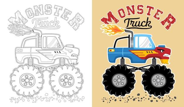 вектор мультфильма монстра грузовик книжка раскраска или