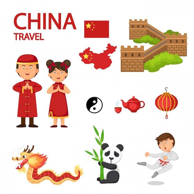 中国旅行のイラストベクター Premiumベクター