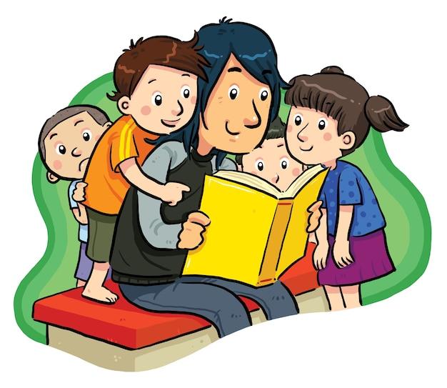 печники семья читает книги картинки на прозрачном фоне дерева сочетании квадратами