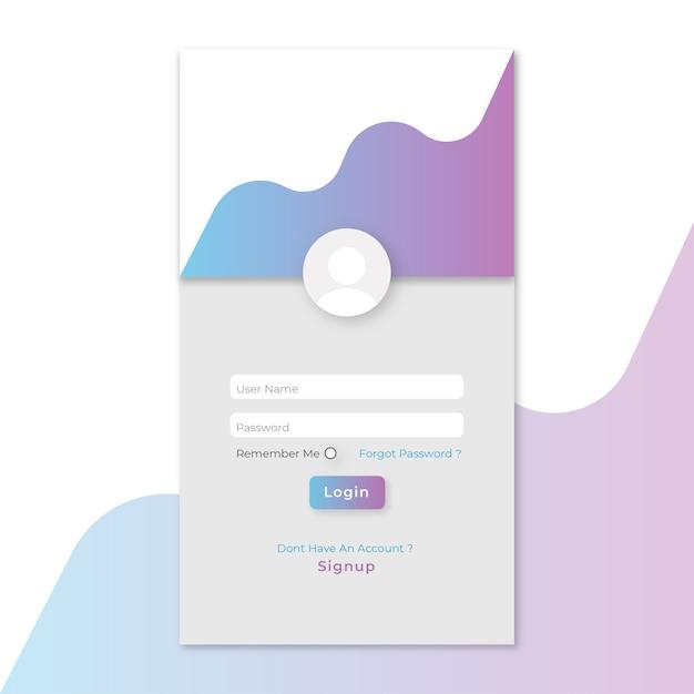 モバイルアプリのログインページテンプレート ベクター画像 プレミアム