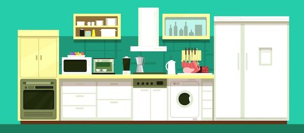 Nobody cartoon kitchen room vector interior Premium Vector