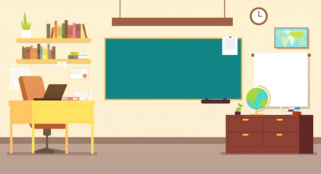 Nobody school classroom interior with teachers desk and blackboard Premium Vector