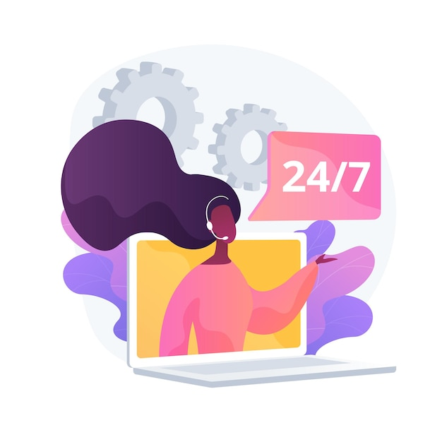 Noctidial technical support. online assistant, user help, frequently asked questions. call center worker cartoon character. woman working at hotline. vector isolated concept metaphor illustration Free Vector