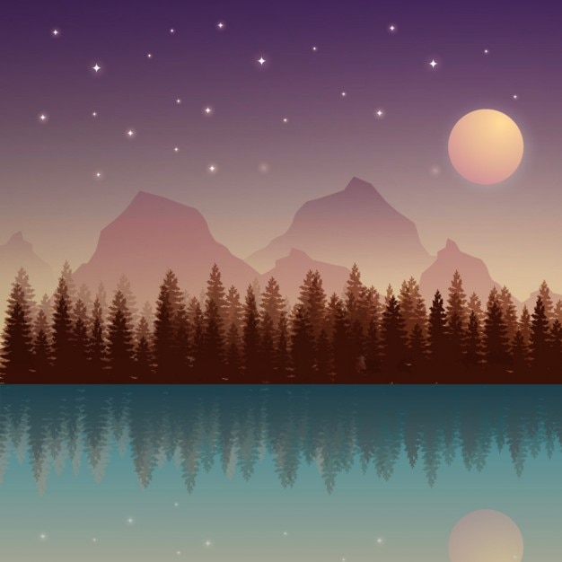 Nocturnal nature landscape with moon and\ mountains
