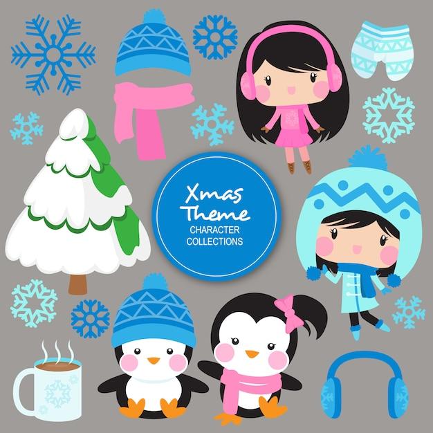 Noel christmas winter characters Premium Vector