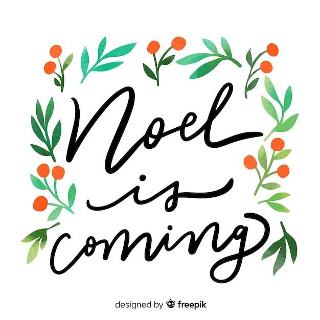 Noel is coming christmas lettering Free Vector
