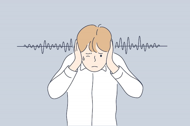 Noise, stress, swearing, protection concept Premium Vector