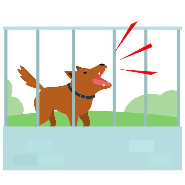 Noisy dog barking in fence of neighbour Premium Vector