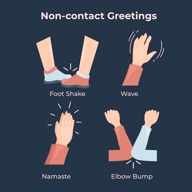 Non-contact greetings concept Free Vector