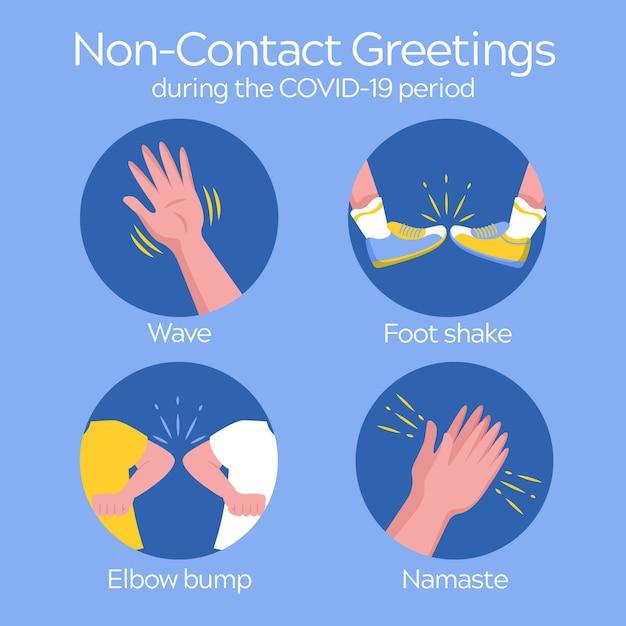 Non-contact greetings during coronavirus Free Vector